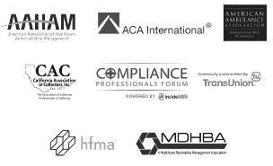 image representing CMRE memberships to AAHAM,ACA International, CAC, Compliance Professionals forum, Transunion, hfma, MDHBA, Experian